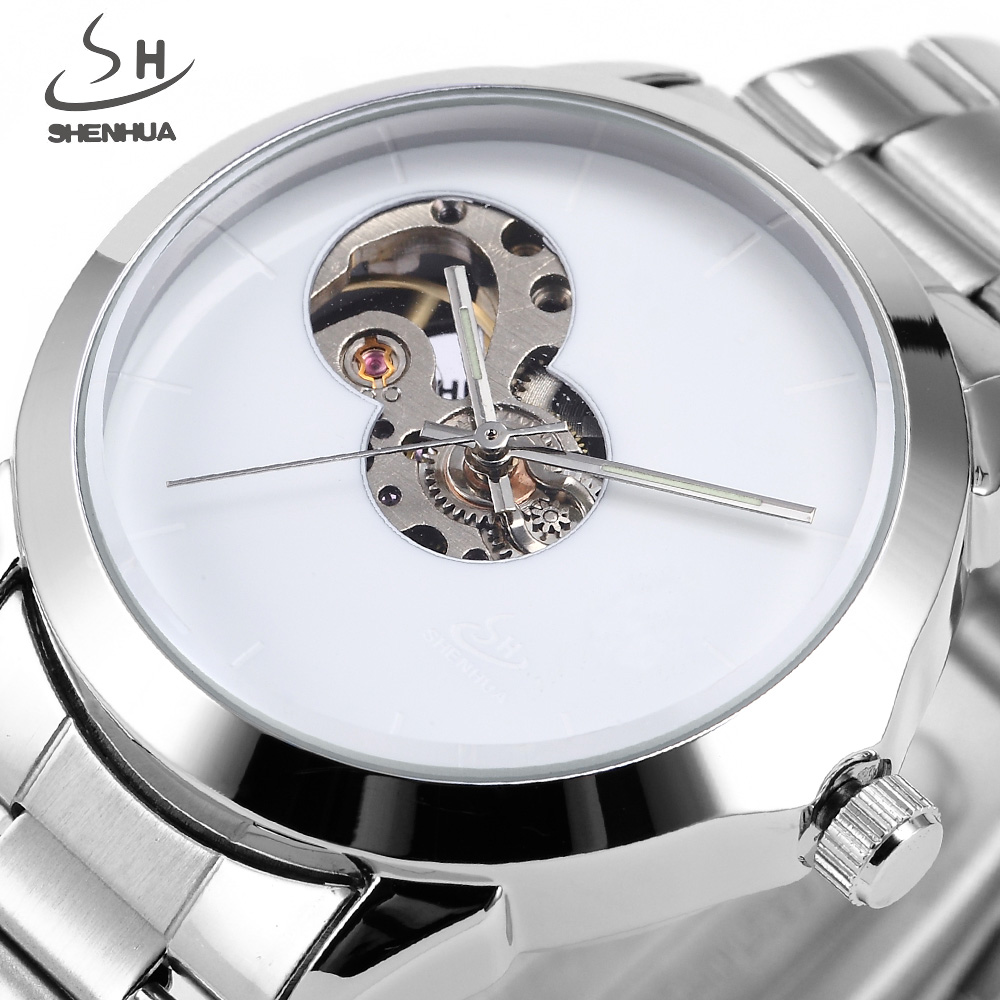 Top Luxury Brand shenhua Automatic Mechanical Watch Men Vintage Fashion Casual Business Stainless Steel Skeleton Watch Clock ik luxury fashion casual stainless steel men automatic mechanical watch skeleton watch for men s dress wristwatch free ship