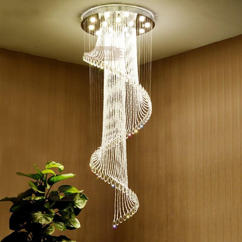 Stairs chandeliers duplex buildings modern simplicity European style revolving stair long crystal lamps SJ12 ya74