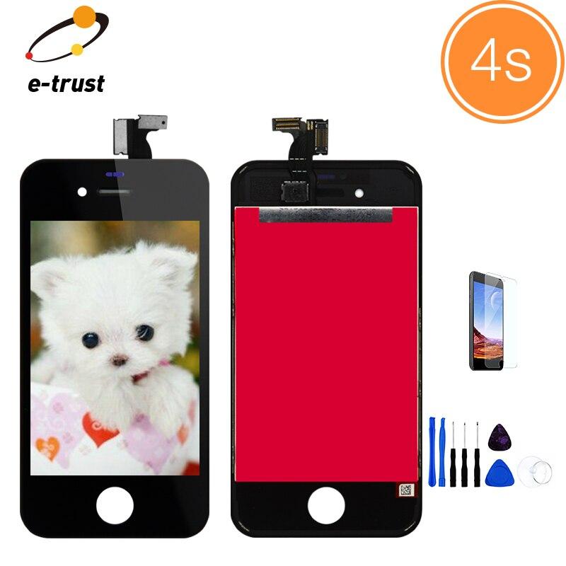 imágenes para Para el iphone 4 & 4 S Pantalla LCD Táctil Digitalizador Asamblea Repuesto Marco Bisel Negro y Blanco + herramientas + Vidrio Temperamento