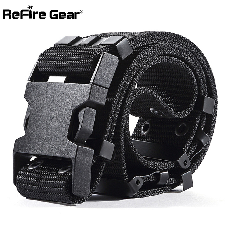 ReFire Gear SWAT US Soldiers Army Tactical Belt Men Military Equipment Combat Waist Belts Sturdy Airsoft Nylon Waistband 5.5cm
