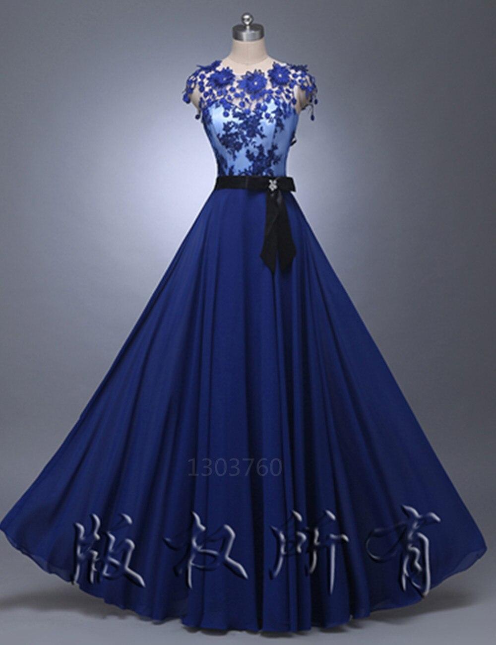en stock Elegante Larga de Encaje Apliques vestidos de robe de soirée negro Sas