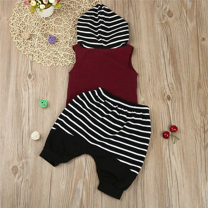 The new fashion cute design Toddler Kids Baby Boy Hooded Vest Tops+Shorts Pants 2pcs Outfits Clothes Set #4A08 (5)