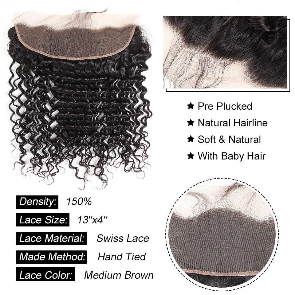 Alipearl Haar 3 Bundels Braziliaanse Diepe Golf 100% Menselijk Haar Bundels Met Frontale Natuurlijke Zwarte Remy Hair Extension Gratis Verzending