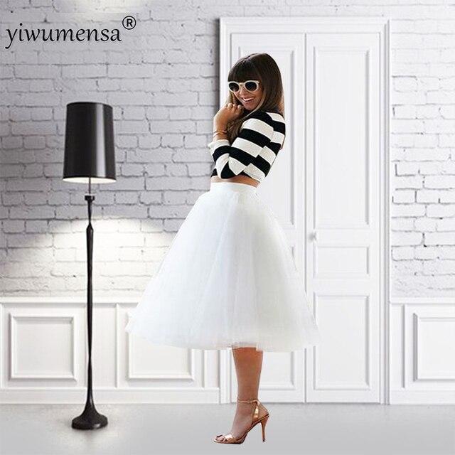 d6015871d49 yiwumensa Free Shipping White Midi Skirt Tulle Evening Party Occasion faldas  largas New Arrival faldas mujer Women faldas largas