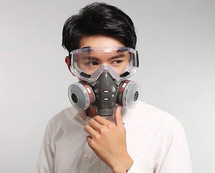 Respirateur gaz chimique avec lunettes poussière charbon actif masque Anti-buée brume Pm2.5 Pesticides peinture pulvérisation masques peinture