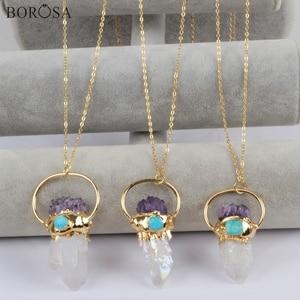 Image 1 - BOROSA 3 pezzi Color oro titanio AB Druzy cristallo quarzo punto con ametiste Chips & turchesi pendenti con ciondolo collana G1806