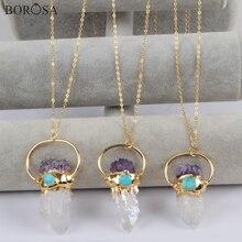 BOROSA 3PCS Gold Color Titanium AB Druzy Crystal Quartz Point With Amethysts Chips & Turquoises Charm Pendants Necklace G1806