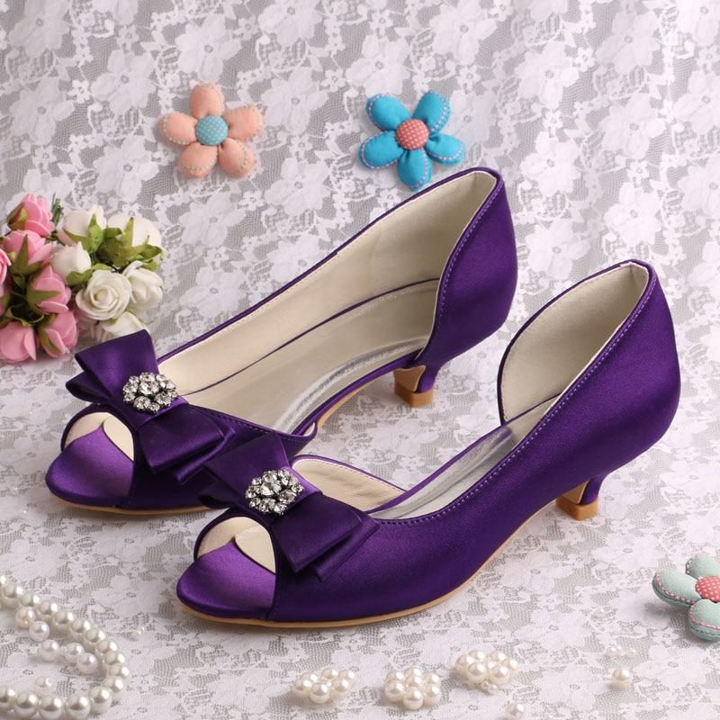 (20 Colors)Custom Handmade Big Size Purple Low Heel Womens Shoes Wedding Bow