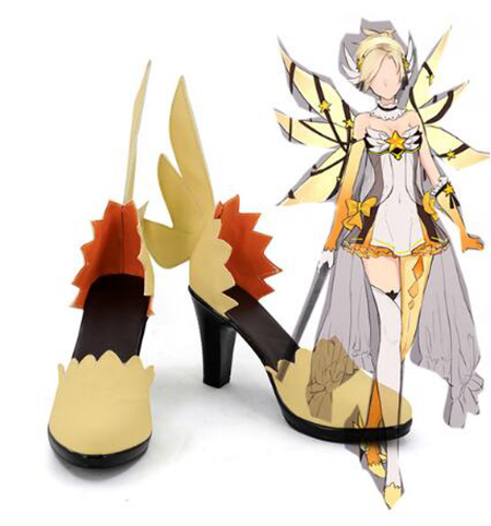 OW Legend Mercy Angela Ziegler Cosplay Shoes Boots Game Halloween Party Boots For Adult Women High Heel Shoes Accessories