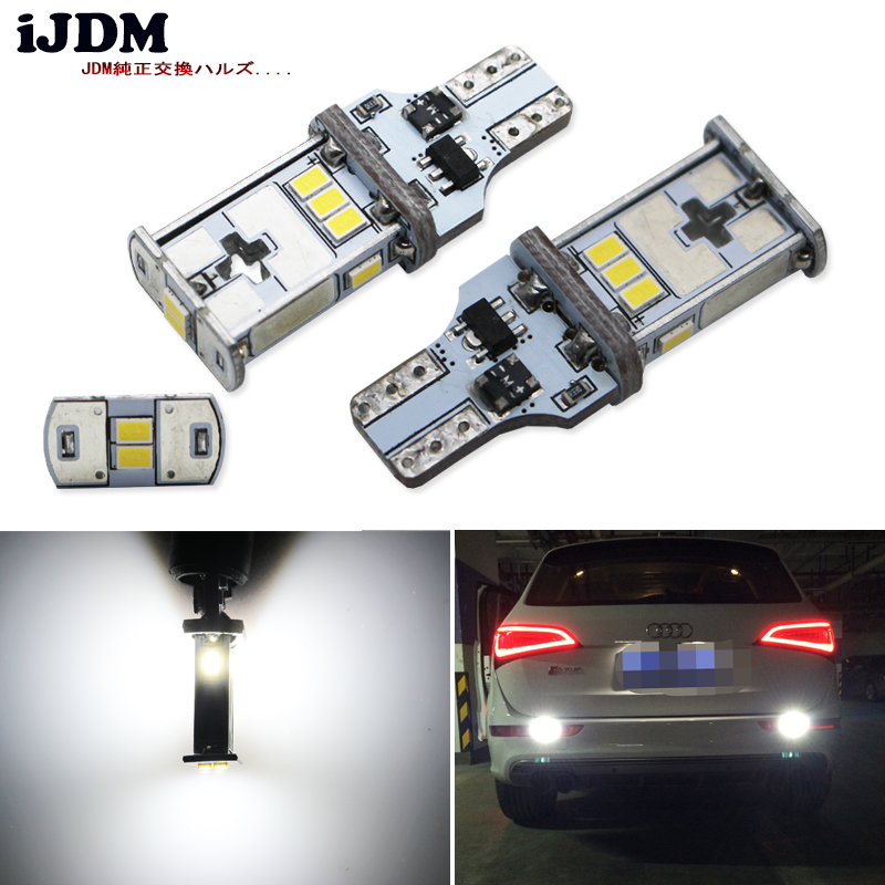 iJDM Exclusive Designed CAN-bus Error Free 10SMD 3020 Xenon White LED Backup Light Bulbs For Audi Q3 Q5 Q7 (No Bulb Out Warning) ijdm amber yellow error free bau15s 7507 py21w 1156py xbd led bulbs for front turn signal lights bau15s led 12v