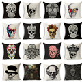 Nordic Punk Bohemia Pillowcase Paisley Skull Cushion Cover Cotton Linen Throw Pillows cover Decorative Cojines almofadas 45X45cm