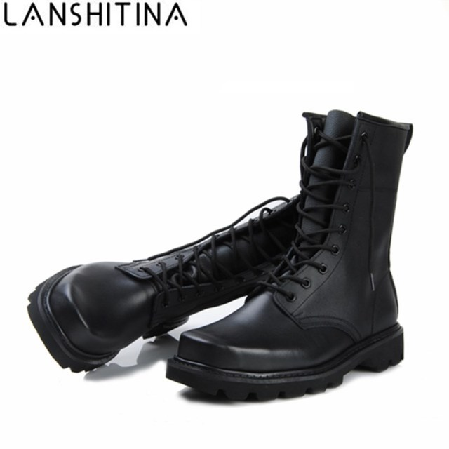 c05989e8ec4e71 2018 Men Genuine Leather Boots Winter Military Combat Boots Outdoor Shoes  Platform High Top Lace-up Hiking Shoes ARMY boots 48