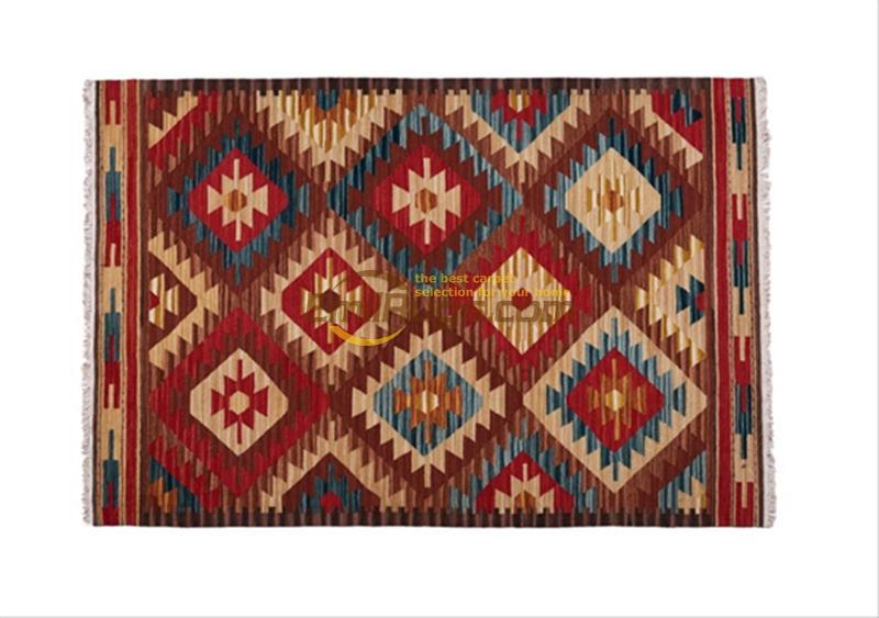 Tapis kilim faits à la main en laine tapis de salon couverture de chevet couloir style méditerranéen 15-5gc131yg4