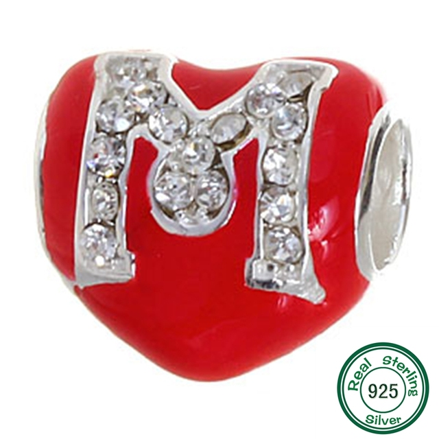 Red Heart Letter M Charms Original 100 Authentic 925 Sterling Silver Beads Fits Pandora