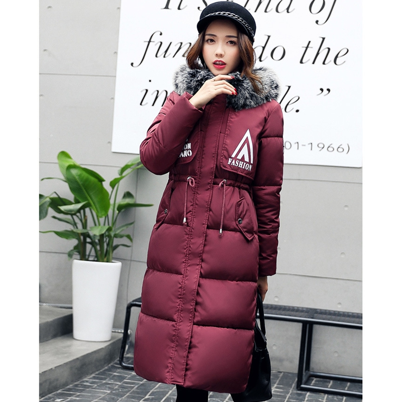 2017 NEW WOMEN WINTER JACKET MEDIUM LENGTH HOODED BIG FUR COLLAR COAT THICKEN PLUS SIZE WARM FEMALE PARKAS PADDED COTTON ZL396 uwback 2016 new brand winter jacket women plus size 4xl faux fur collar down coat women black thicken padded parkas mujer tb1181
