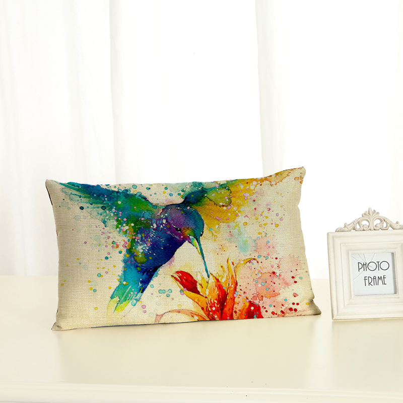 Personalized Bird Cushion Covers Fashion Creativity Home decoration <font><b>30x50</b></font> Decorative Beige Linen <font><b>Pillow</b></font> <font><b>Case</b></font> image
