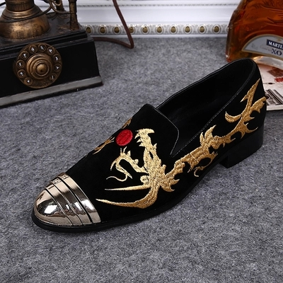 European ethnic style wedges thick bottom platform flowers embroidery mesh cow leather square toe large size dating shoes L24 - 5