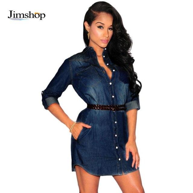 f05012d7c55c47 Vrouw Denim Jurk Sexy V-hals Lange Mouwen Plus Size Lente Slanke Blauw  Casual Vestido