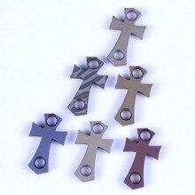 Titanium Knife Pendant H Section Cross Bracelet Flashlight Mens EDC Beads