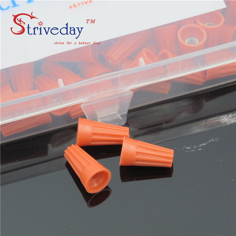 200pcs boxed New P1 Rotating terminal crimping cap helical spring type Terminal cap Orange color Hot sale in Terminals from Home Improvement