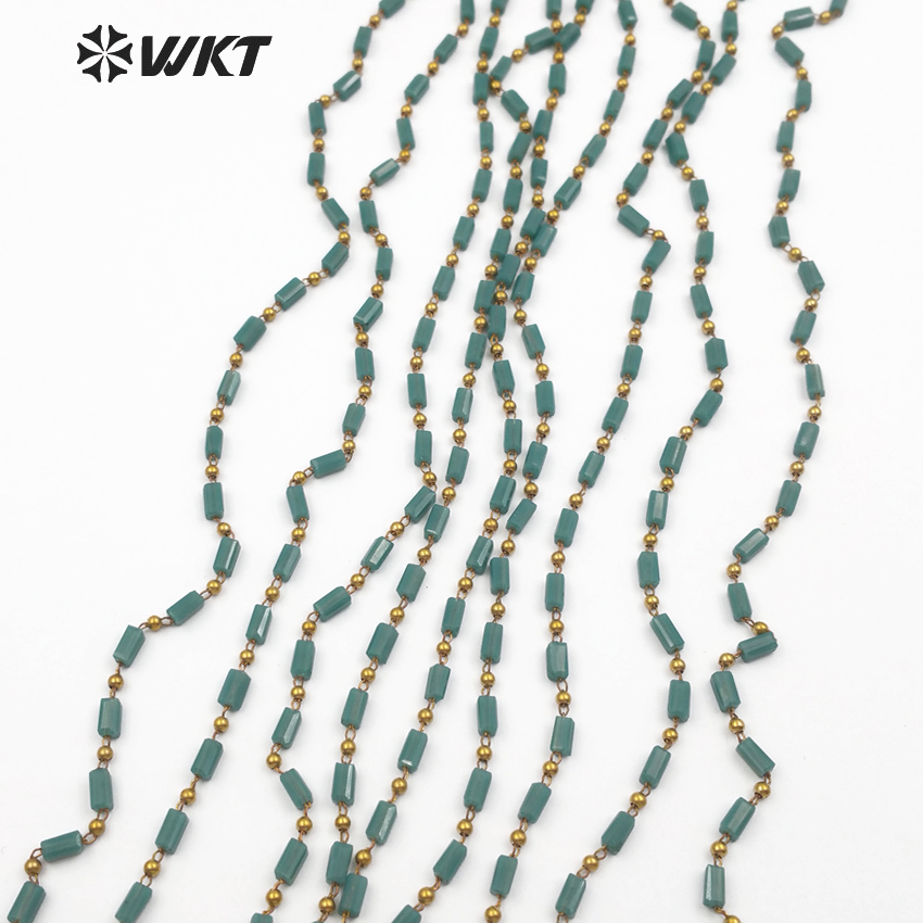 WT RBC075 WKT Wholesale 10 Meter Dark Green Crystal Beads Chain Luxe Style Handmade Rosary Beads