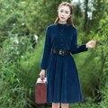 2017 новая мода и Случайные Вельвет Сплошной Цвет Долго dress Clothing for women 100% Cotton dress Vintage style