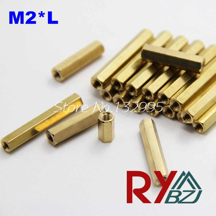 100pcs/lot  M2*L  Brass Standoff Spacer Female Female Spacing Screws Hex Brass Threaded Spacer/BSSFFNNP M2H