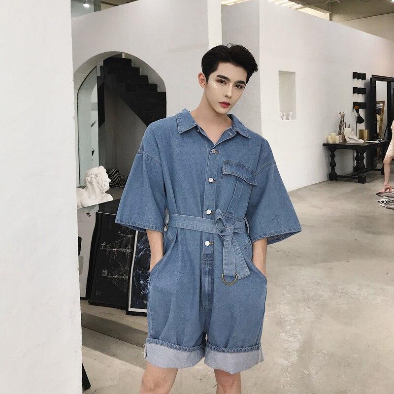 Vêtements Vêtement Seule Plus Cheveux Pièce Short Costumes Lâche Chanteur Styliste Bleu D'une Mode Uni Salopette 2018 Hommes De Nouveau Taille La Costume qASwxvAE8