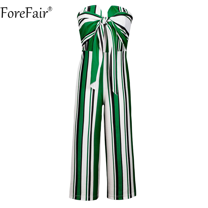 Forefair Off Shoulder Bow Wide Leg Pant Casual Summer Jumpsuit Women Striped Backless Sexy Strapless Rompers