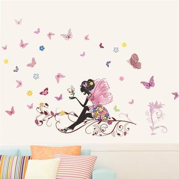 Beautiful Girl Butterfly Flower Art Wall Sticker For Home Decor DIY Personality Mural Child Room Nursery Decoration Print Poster room decoration flower rattan butterfly pattern wall sticker