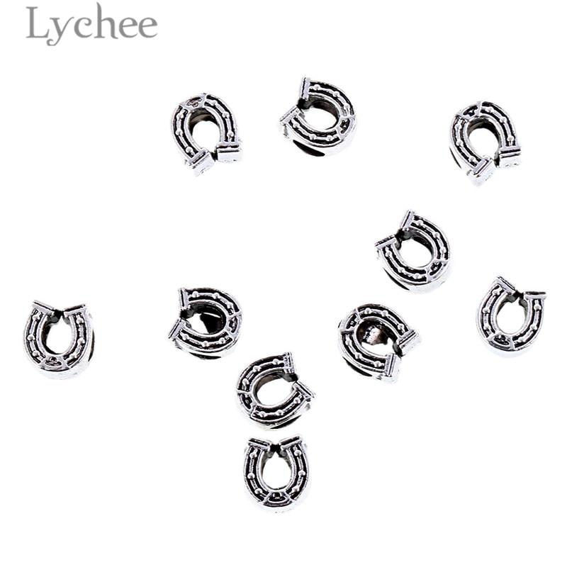 Lychee Retro 10pcs Silver Color Alloy Hollow Hair Braid Dread Dreadlock Beads Clips Crown Starfish Headwear Men Women Jewelry