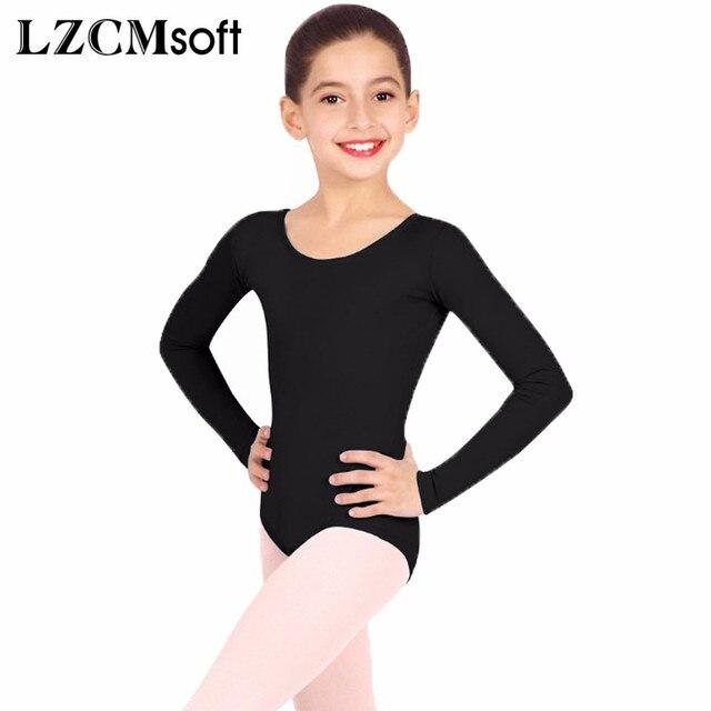 888bdfc9ba1f LZCMsoft Scoop Neck Teens Black Leotards for Girls Gymnastics Long ...