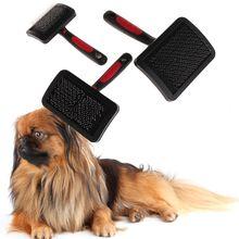 Густая расческа для ухода за шерстью для домашних животных, щетка для домашних животных с пластиковой ручкой, подушка безопасности из нержавеющей стали, расческа для собак