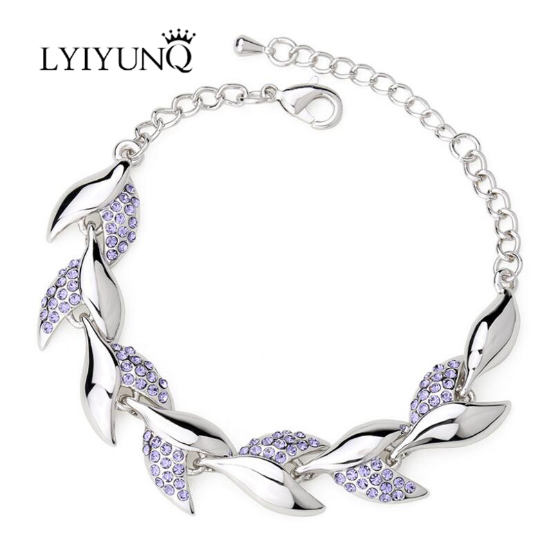 LYIYUNQ 2017 Trendy Leaf Rhinestone Bracelets & Bangles For Women High Quality Crystal Bracelet Fashion Brand Wedding Jewelry