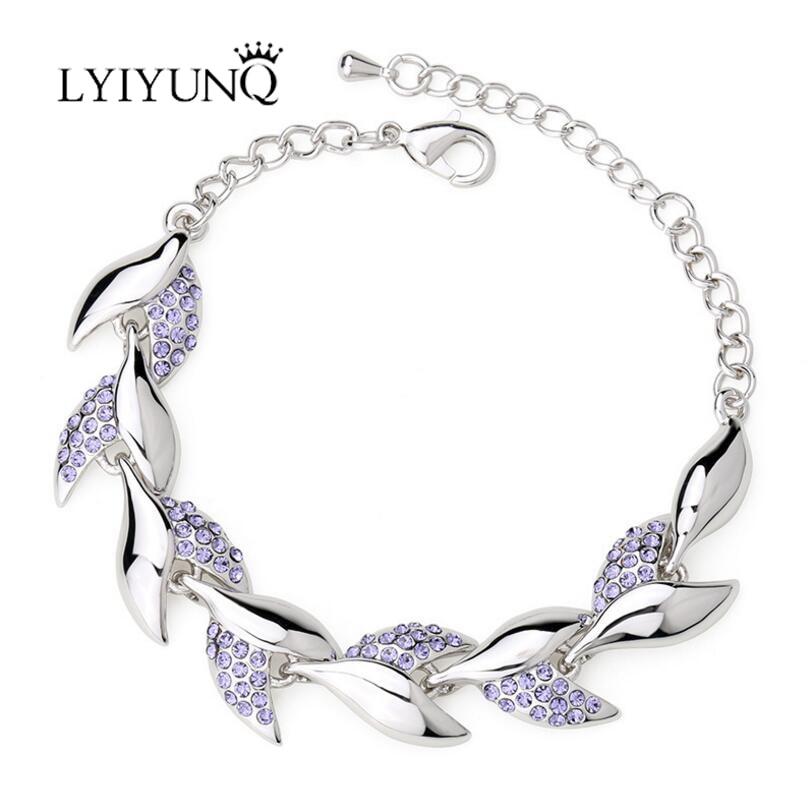 LYIYUNQ 2017 Trendy Leaf Rhinestone Bracelets & Bangles For Women High Quality Crystal Bracelet Fashion Brand Wedding Jewelry