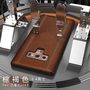 Image 3 - Echtes Leder Luxus Fall Für Samsung HINWEIS 9, HINWEIS 8, S9 Plus, s8 Plus Rindsleder Volle Schutzhülle Unterstützung adsorption magnet