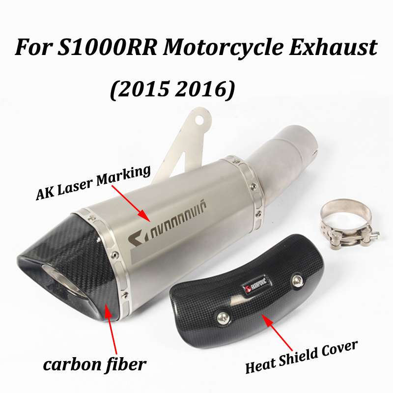 Exhaust Motorcycle  Muffler With AK Laser Marking DB Killer Heat Shield Cover Carbon Fiber Slip on For BMW S1000RR 2015 2016-in Exhaust & Exhaust Systems from Automobiles & Motorcycles