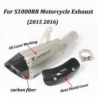 Exhaust Motorcycle Muffler With AK Laser Marking DB Killer Heat Shield Cover Carbon Fiber Slip on For BMW S1000RR 2015 2016