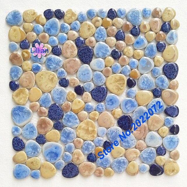 Porselein pebbles art fambe mozaïek tegel blauw geglazuurde pebble ...