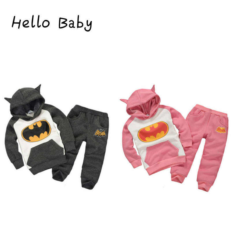 Hot Batman Batgirl Boys Hoodies Sweatshirts For Girls Autumn Winter Baby Children Batman Coat Set Cute Hoodie With Ears Hoody