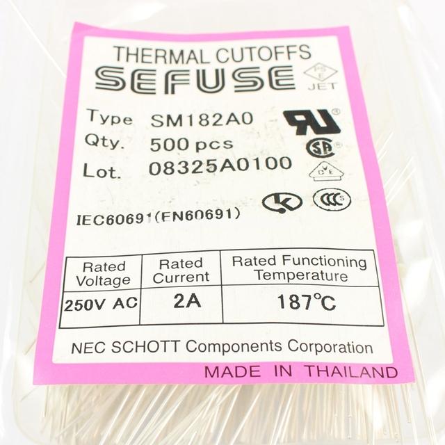 10 Pcs Per Lot Microtemp Thermal Fuse 187 Degree TF Cutoff 2A 250V SM182A0