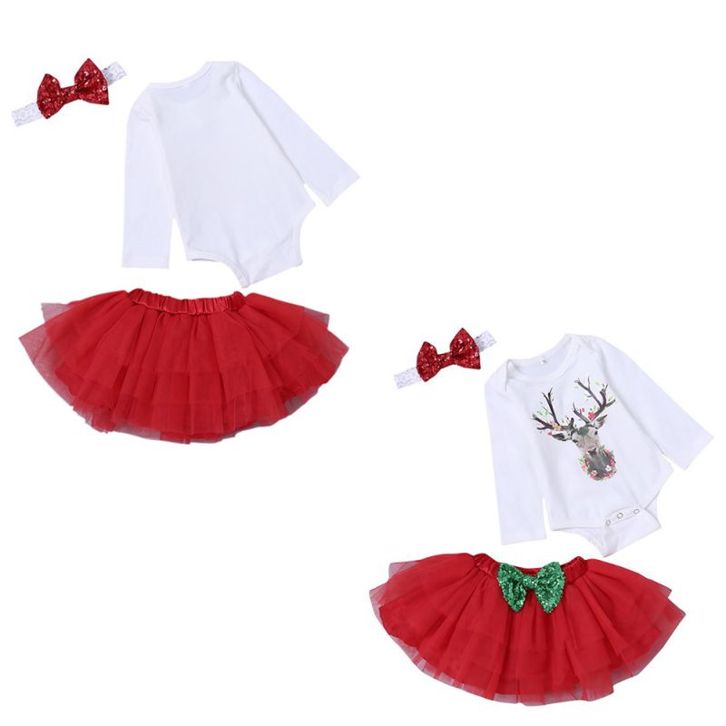 fcf814bf1ab81 Baby Girls Autumn Winter Christmas Cartoon Romper+Bowknot Headband+Skirt Set  Newborn Infant Soft Cotton Fashion 3pcs Clothes Set