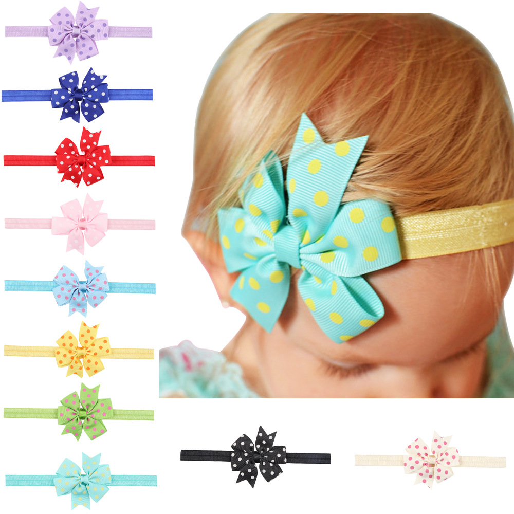 17 colors Children headwear wave point hair accessories swallowtail bow headband with baby elastic scrunchy baby hair hair bands