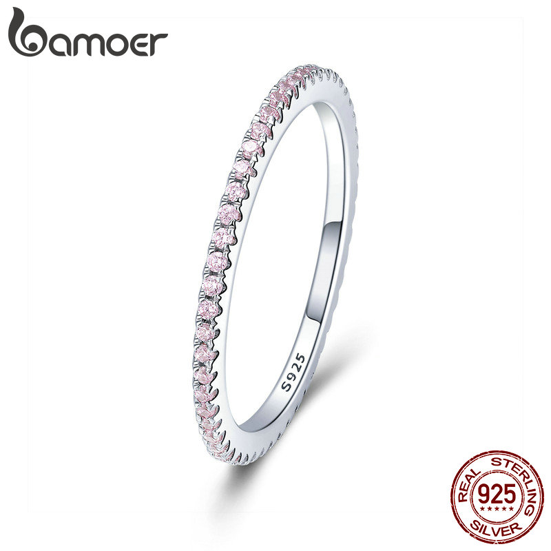 BAMOER 925 Sterling Silver Pink Crystal Wedding Female Rings for Women Simple Geometric Ring Sterling Silver Jewelry SCR066 цена
