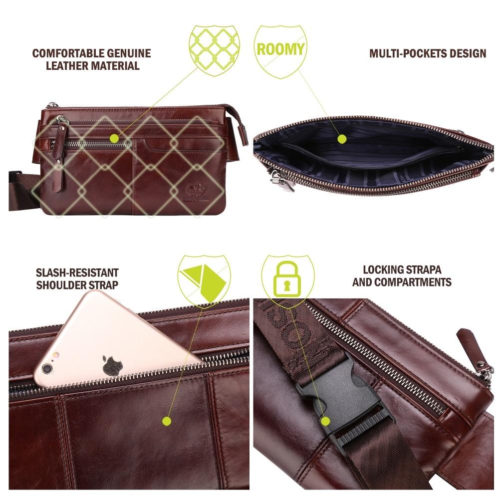 BISON DENIM Läder Waist Pack Äkta Läder Waist Väska Ipad Mini - Bälten väskor - Foto 4