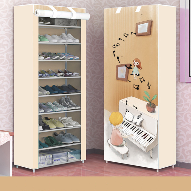 Minimalist Ten Layers Shoe Cabinet DIY Home Shoe Rack With Non-woven Cloth Folding Shoe Stand Holder Dust-proof Shoes Rack