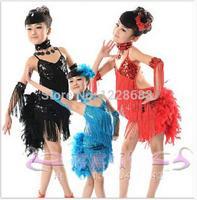 Nieuwe Collectie Kids Kinderen Meisjes Blauw Rood Roze Zwart Feather Fringe Sequin Latin Dance Jurk Voor Verkoop