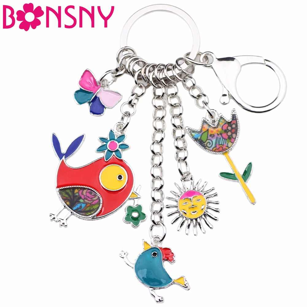 Bonsny Animal Enamel Bird Sun Flower Butterfly Key Chain Women Keyrings Gift HandBag Charms Keychain Car key Charms Jewelry