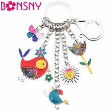 Bonsny Animal esmalte pájaro sol Flor Mariposa llavero mujer llavero regalo bolso encantos llavero coche llavero joyería