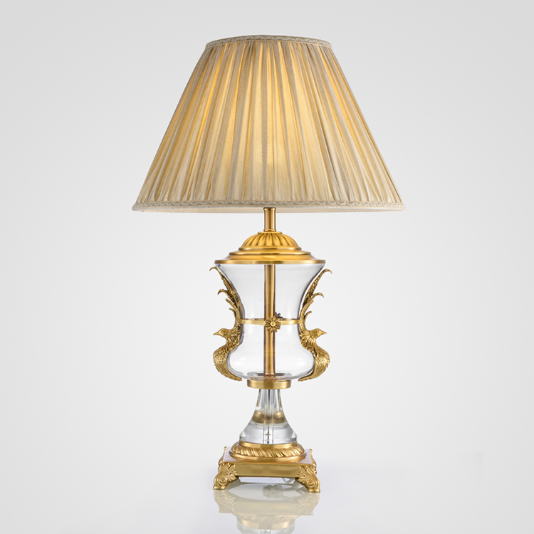 Modern Minimalist American Bronze Glass Gold Table Lamps Decorative Creative Model House American Living Room